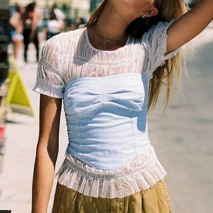 Free People Striped Strapless Top